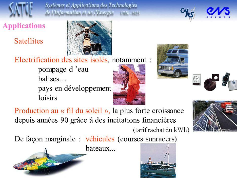 Applications Satellites. Electrification des sites isolés, notamment : pompage d 'eau. balises… pays en développement.