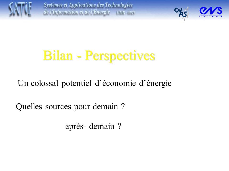 Bilan - Perspectives Un colossal potentiel d'économie d'énergie