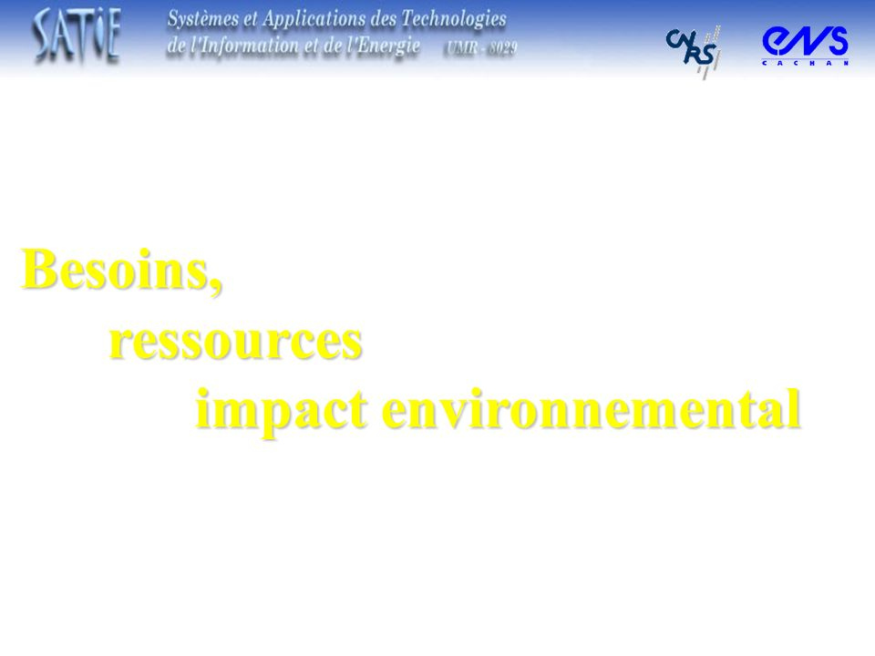 Besoins, ressources impact environnemental