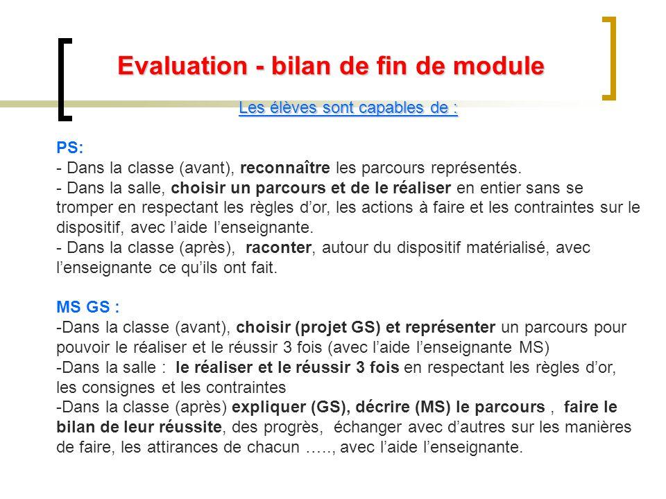 Evaluation - bilan de fin de module