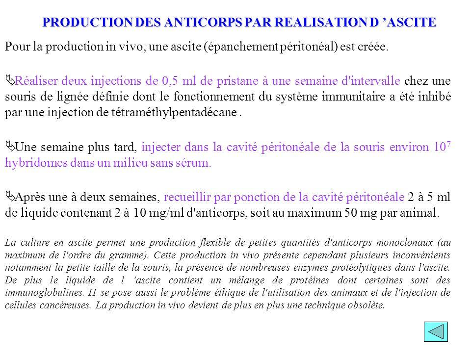 PRODUCTION DES ANTICORPS PAR REALISATION D 'ASCITE
