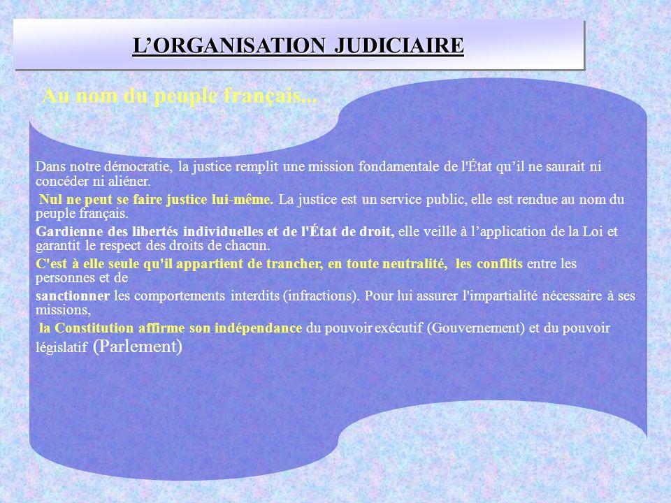 L'ORGANISATION JUDICIAIRE Au nom du peuple français...