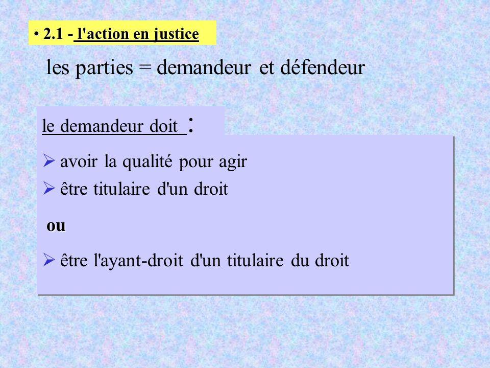 les parties = demandeur et défendeur