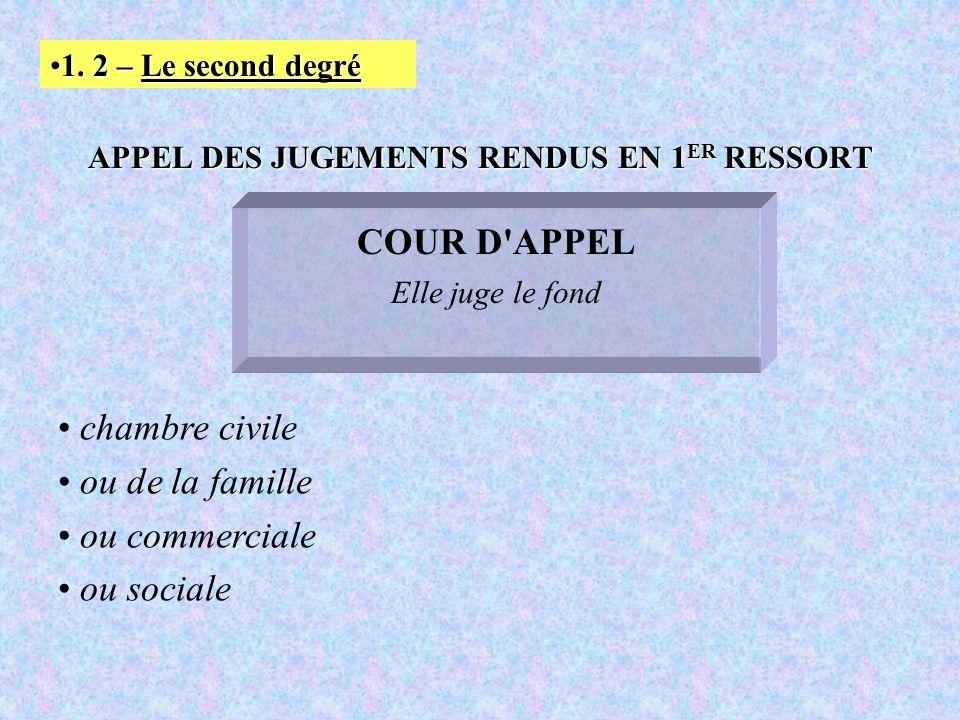 APPEL DES JUGEMENTS RENDUS EN 1ER RESSORT