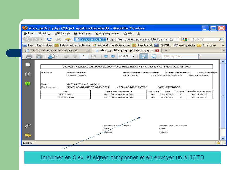 Imprimer en 3 ex. et signer, tamponner et en envoyer un à l'ICTD