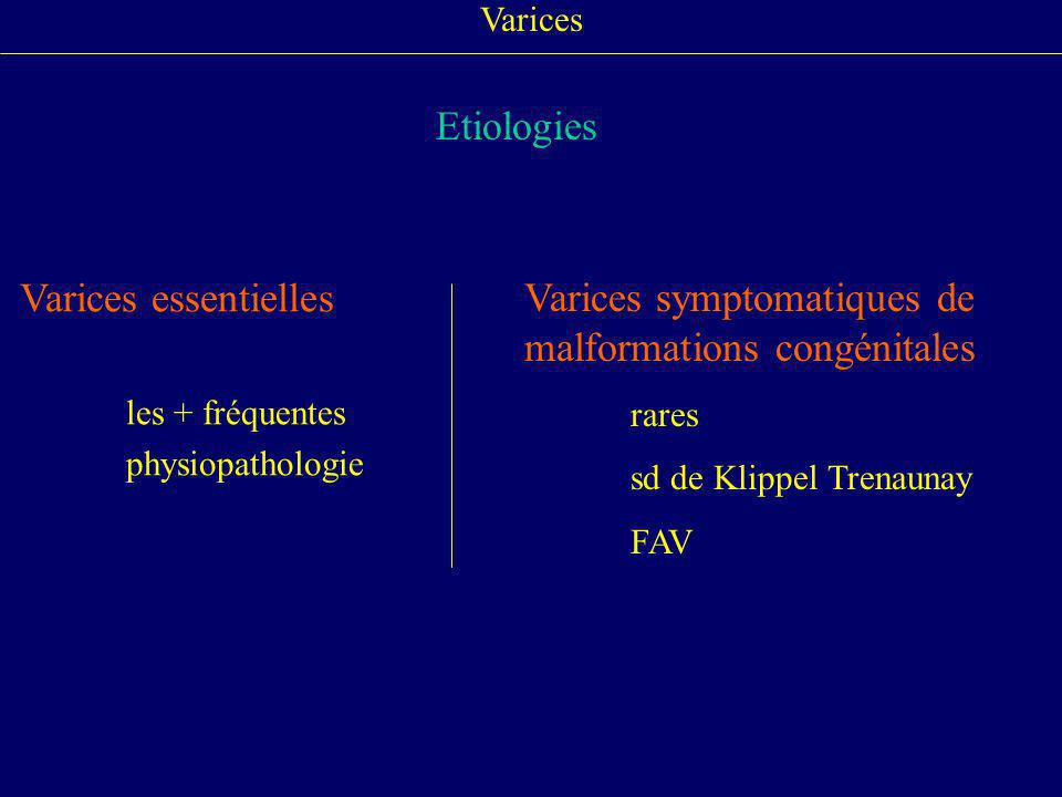Varices symptomatiques de malformations congénitales
