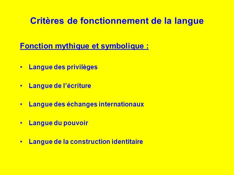Critères de fonctionnement de la langue