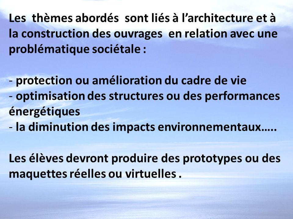 Les thèmes abordés sont liés à l'architecture et à la construction des ouvrages en relation avec une problématique sociétale :