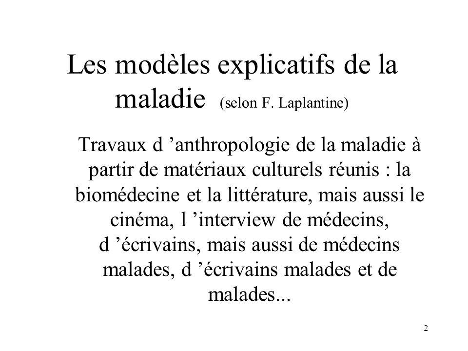 Les modèles explicatifs de la maladie (selon F. Laplantine)