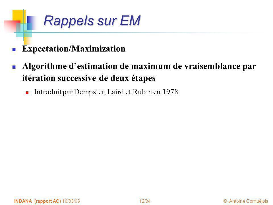 Rappels sur EM Expectation/Maximization
