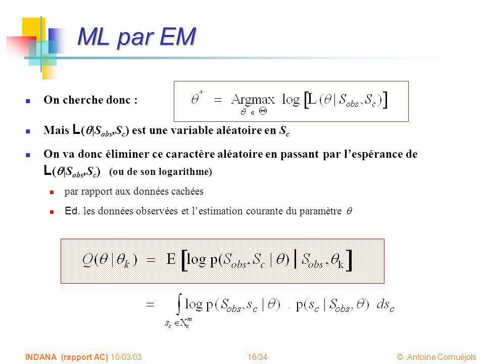 ML par EM On cherche donc :