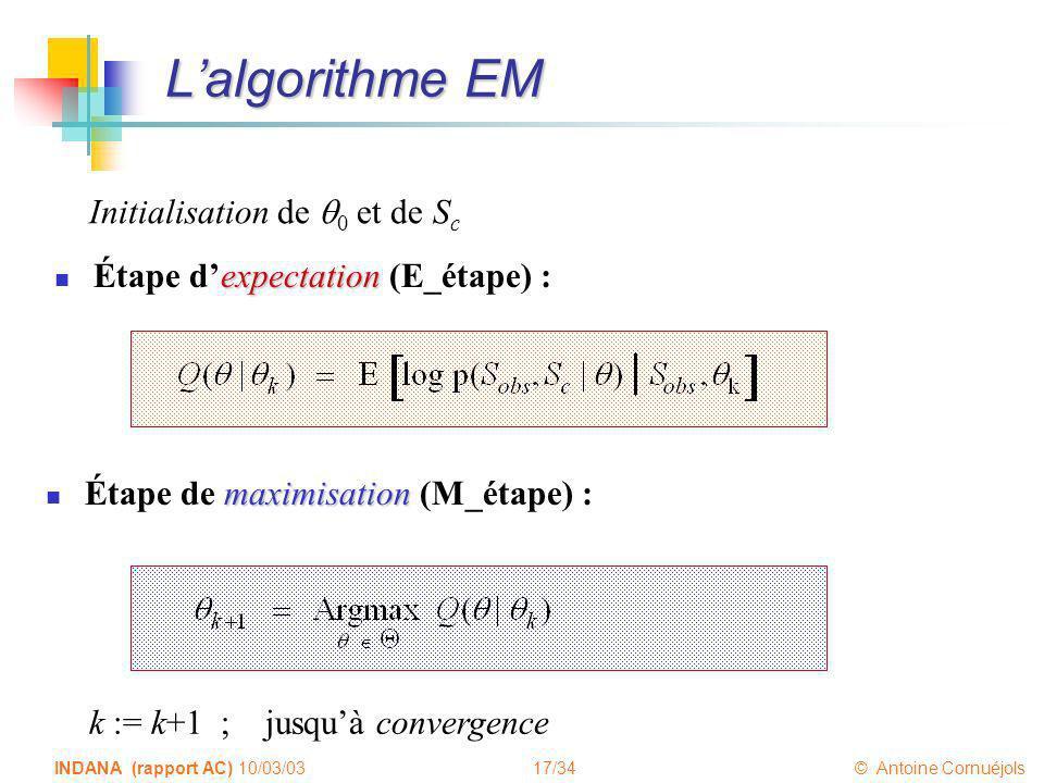 L'algorithme EM Initialisation de q0 et de Sc