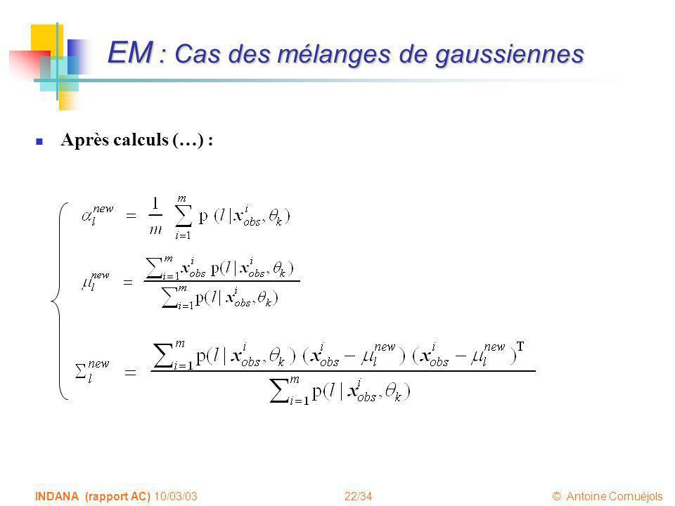 EM : Cas des mélanges de gaussiennes