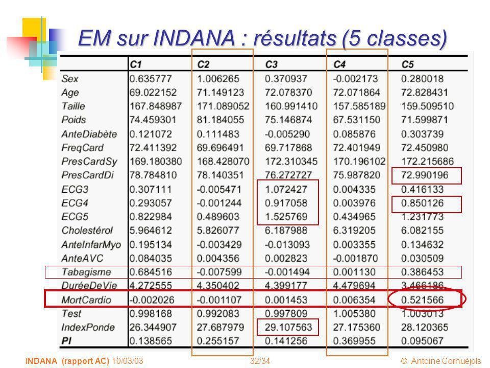 EM sur INDANA : résultats (5 classes)