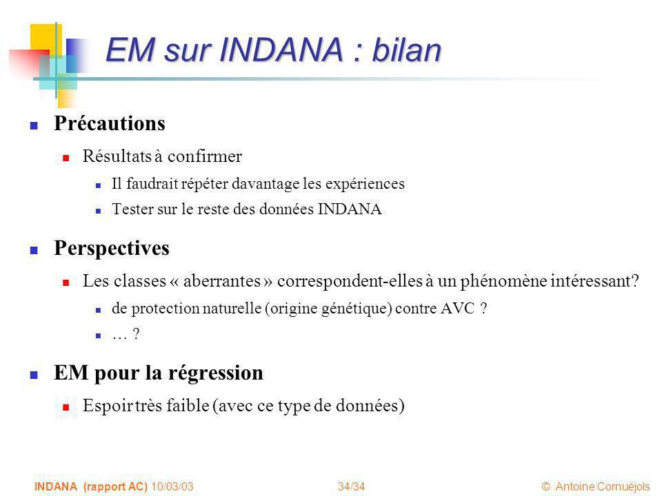 EM sur INDANA : bilan Précautions Perspectives EM pour la régression