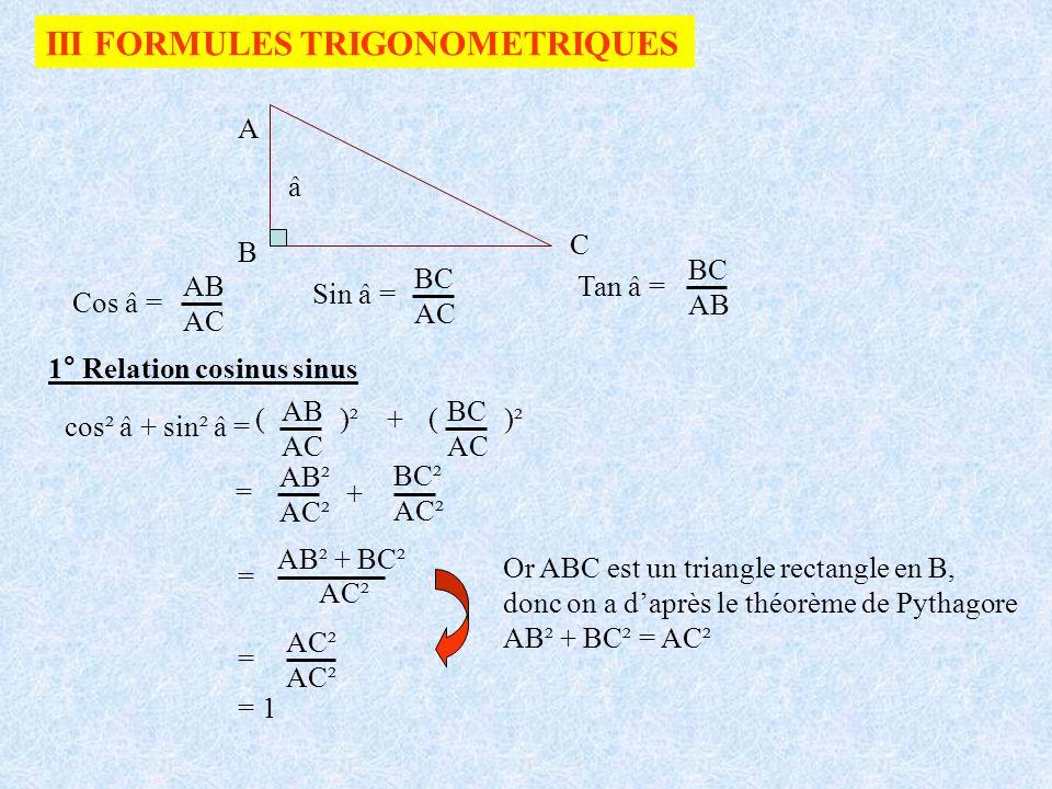 III FORMULES TRIGONOMETRIQUES