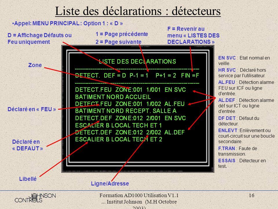 Liste des déclarations : détecteurs