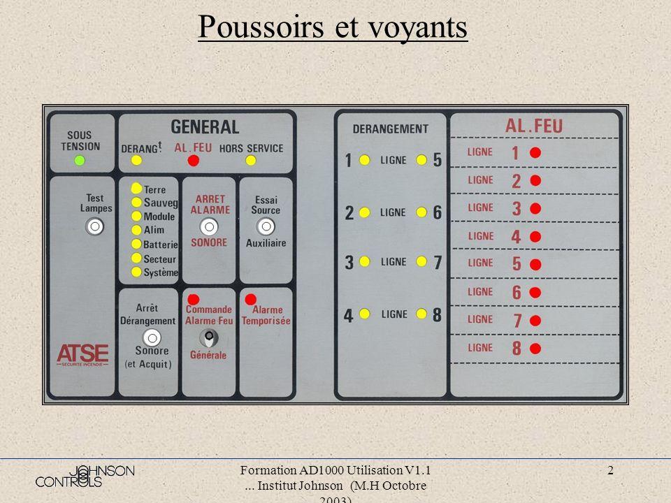Poussoirs et voyants Formation AD1000 Utilisation V1.1 ... Institut Johnson (M.H Octobre 2003)