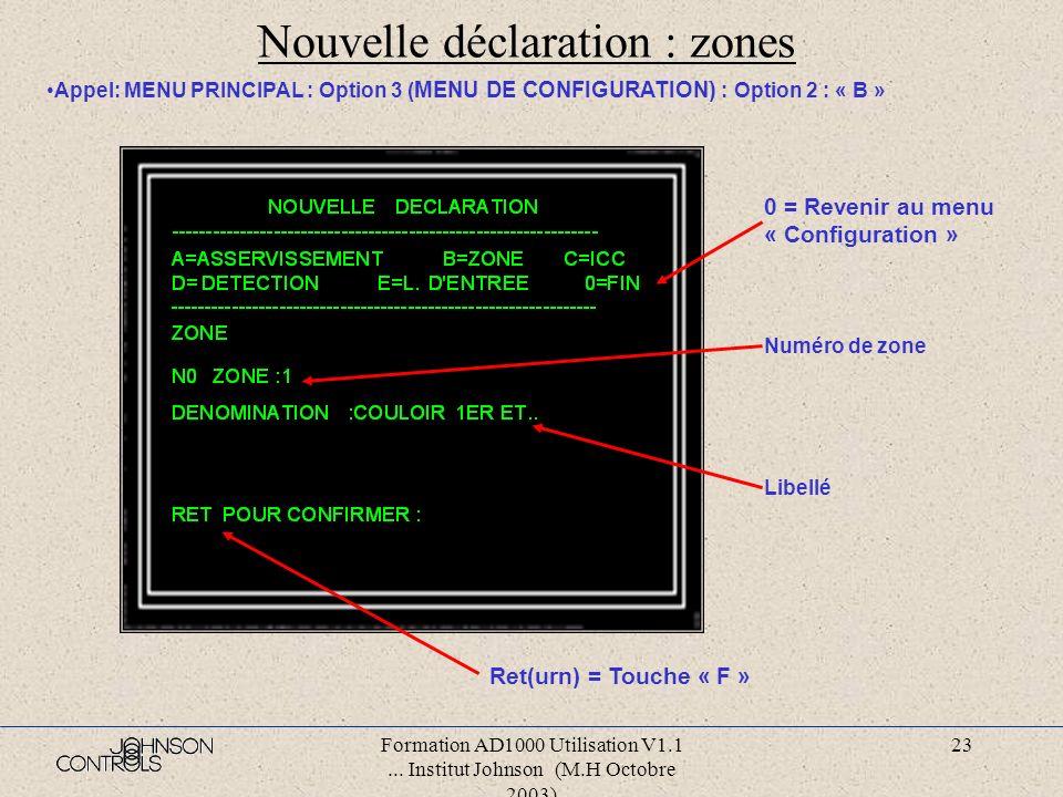 Nouvelle déclaration : zones