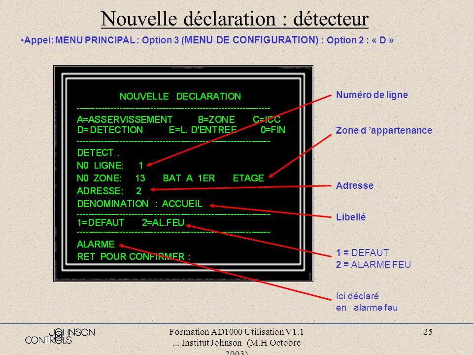 Nouvelle déclaration : détecteur