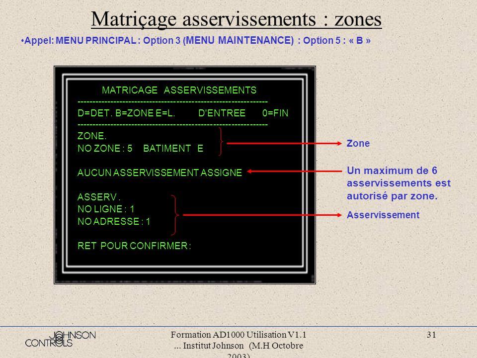 Matriçage asservissements : zones