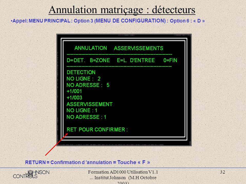 Annulation matriçage : détecteurs