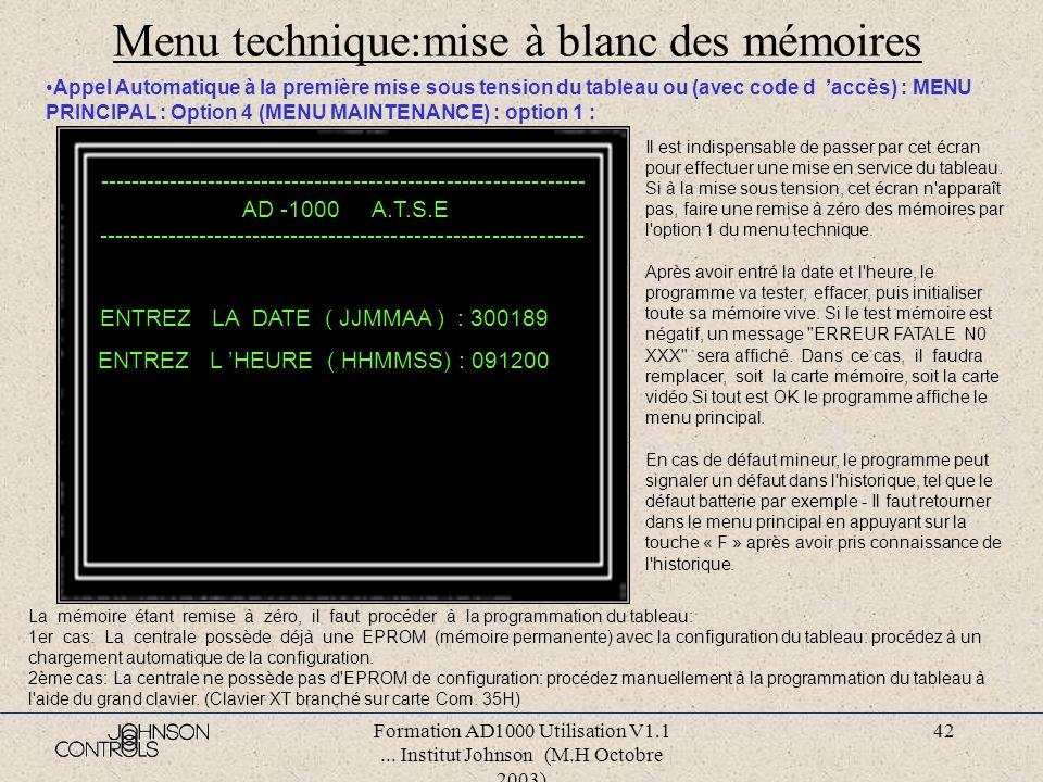 Menu technique:mise à blanc des mémoires