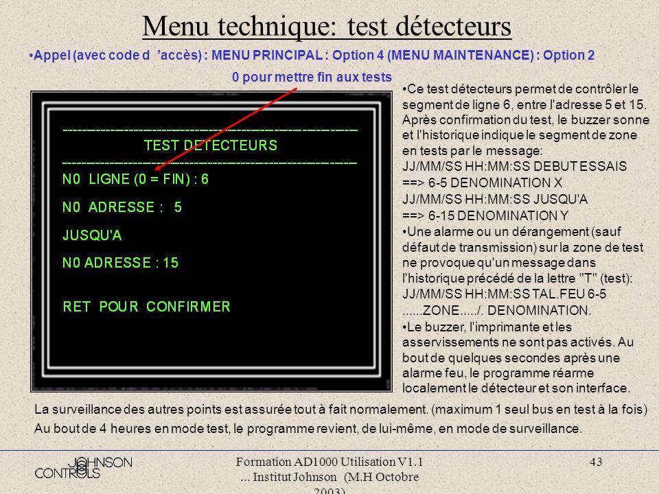 Menu technique: test détecteurs
