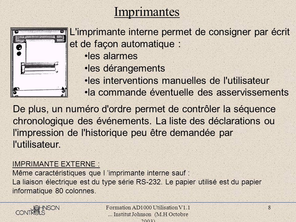 Imprimantes L imprimante interne permet de consigner par écrit et de façon automatique : les alarmes.