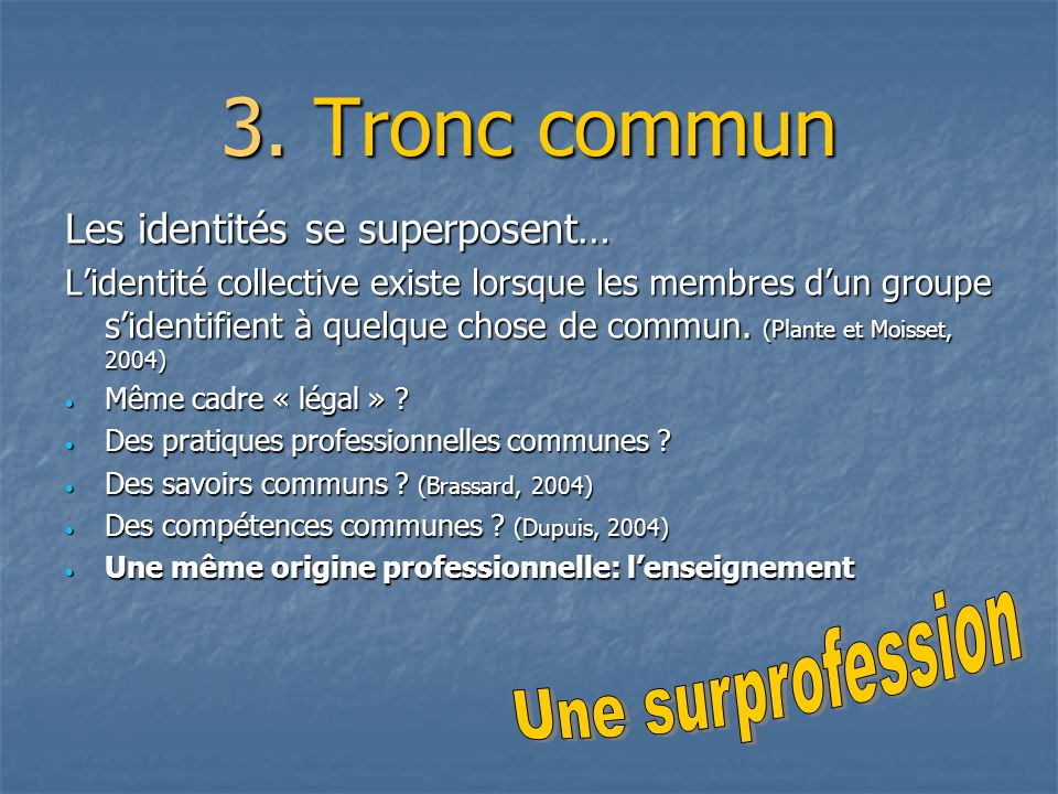 3. Tronc commun Une surprofession Les identités se superposent…