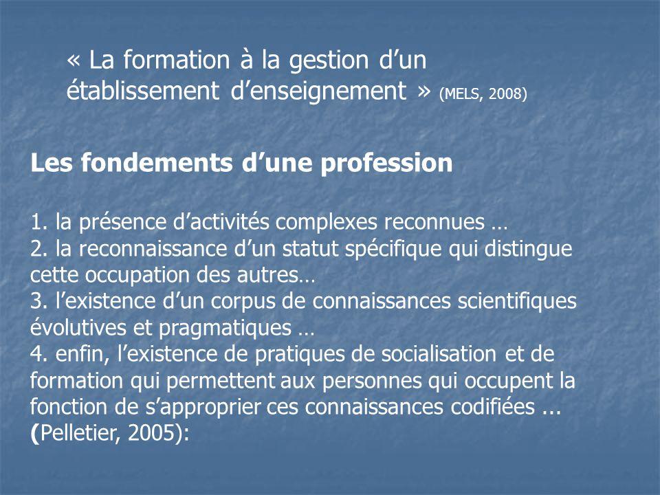 Les fondements d'une profession