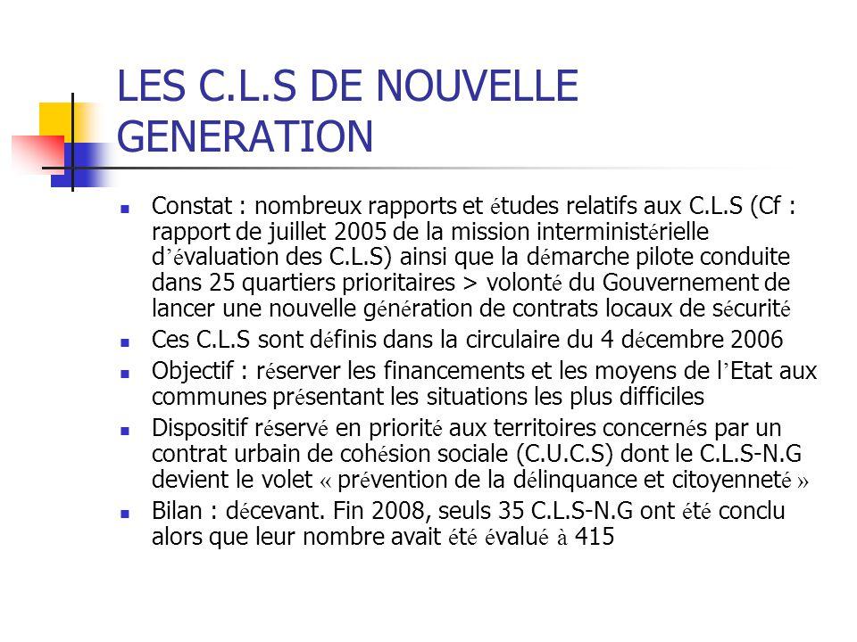 LES C.L.S DE NOUVELLE GENERATION