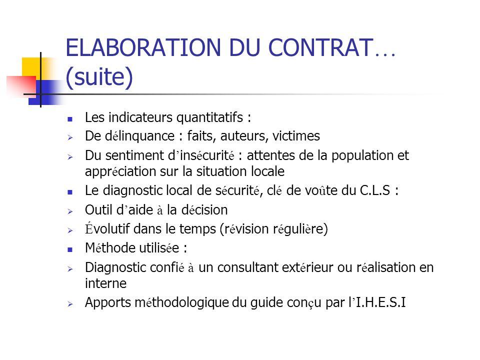 ELABORATION DU CONTRAT… (suite)