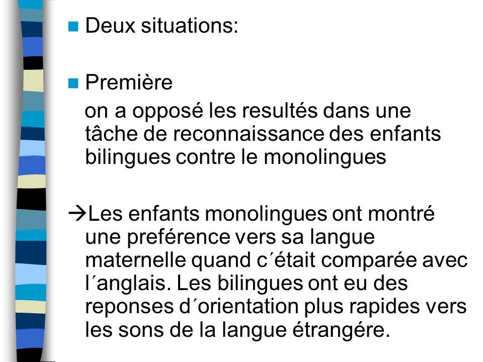 Deux situations: Première. on a opposé les resultés dans une tâche de reconnaissance des enfants bilingues contre le monolingues.