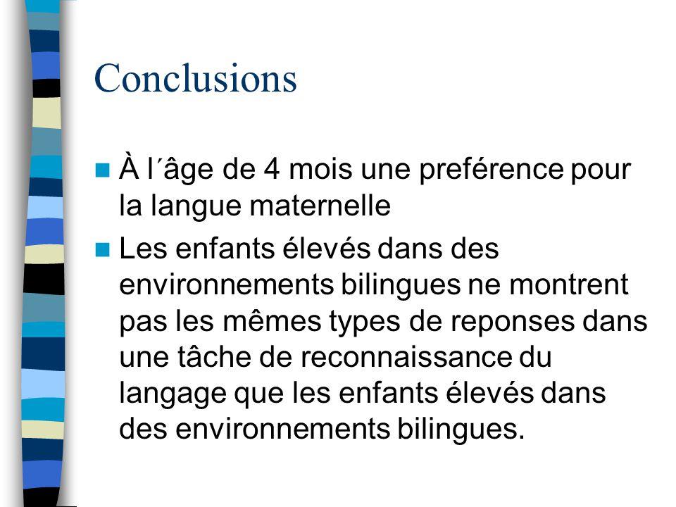 Conclusions À l´âge de 4 mois une preférence pour la langue maternelle