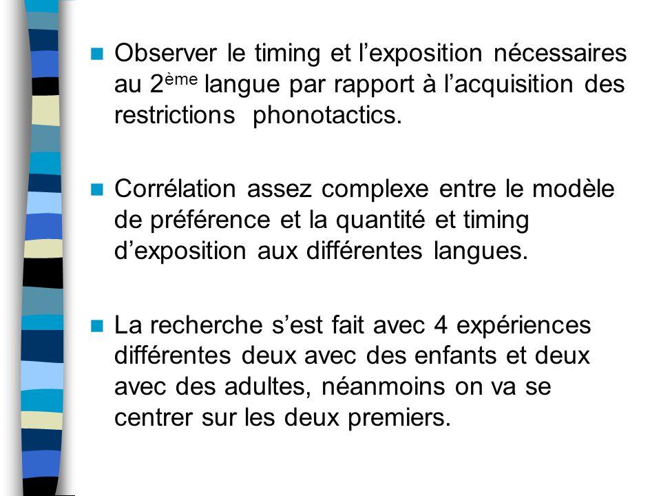 Observer le timing et l'exposition nécessaires au 2ème langue par rapport à l'acquisition des restrictions phonotactics.