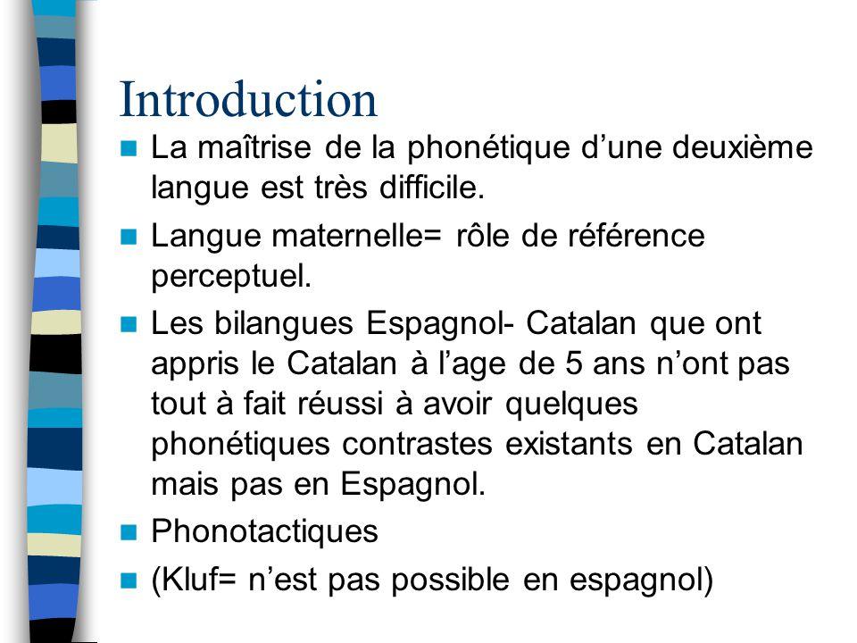 Introduction La maîtrise de la phonétique d'une deuxième langue est très difficile. Langue maternelle= rôle de référence perceptuel.