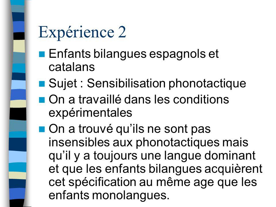 Expérience 2 Enfants bilangues espagnols et catalans