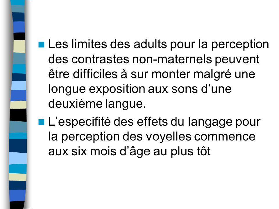 Les limites des adults pour la perception des contrastes non-maternels peuvent être difficiles à sur monter malgré une longue exposition aux sons d'une deuxième langue.