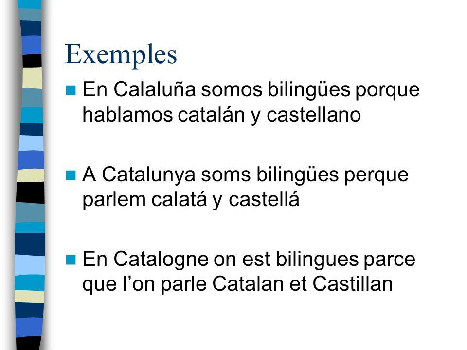 Exemples En Calaluña somos bilingües porque hablamos catalán y castellano. A Catalunya soms bilingües perque parlem calatá y castellá.