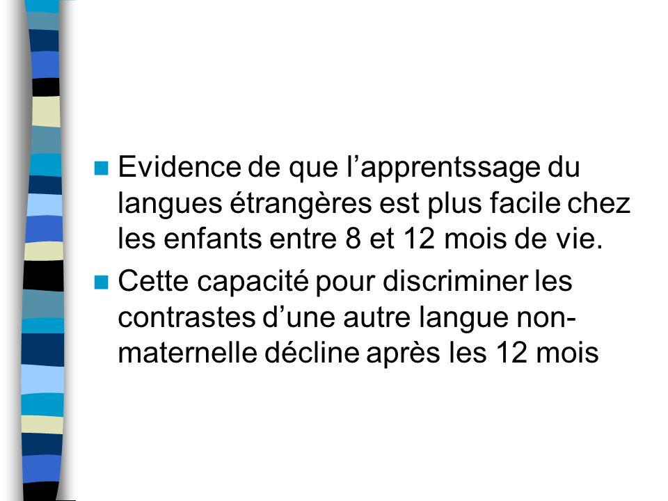 Evidence de que l'apprentssage du langues étrangères est plus facile chez les enfants entre 8 et 12 mois de vie.