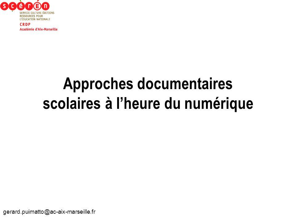 Approches documentaires scolaires à l'heure du numérique