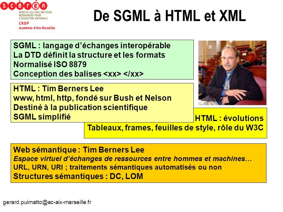 De SGML à HTML et XML SGML : langage d'échanges interopérable