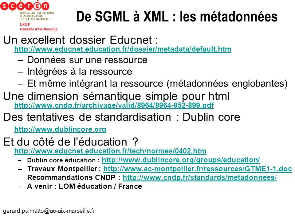 De SGML à XML : les métadonnées