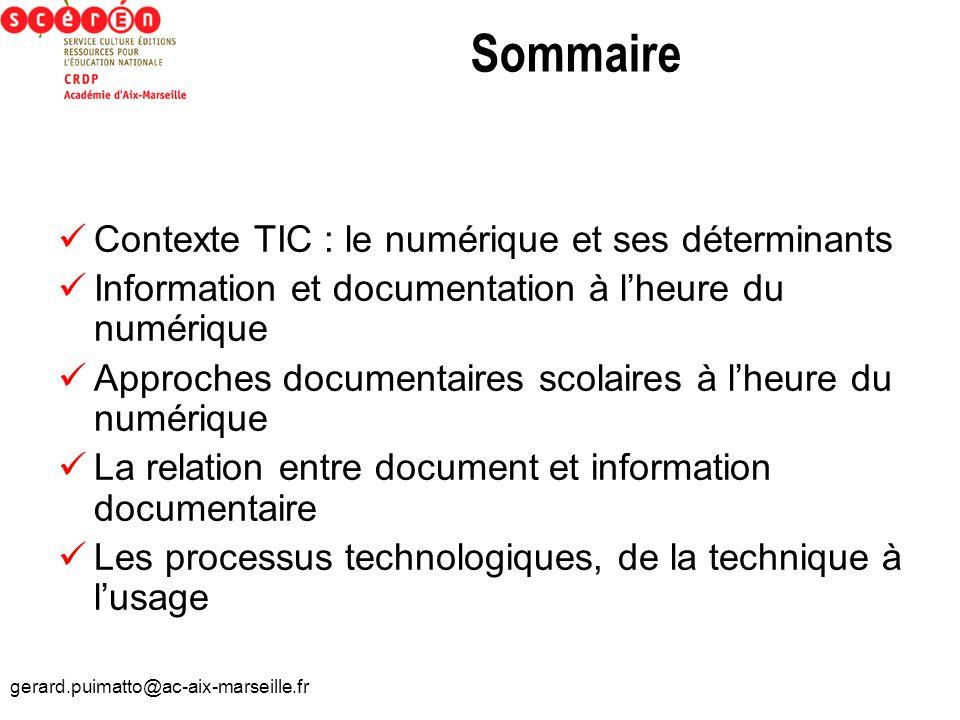 Sommaire Contexte TIC : le numérique et ses déterminants