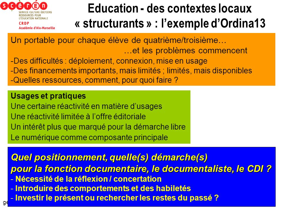 Education - des contextes locaux « structurants » : l'exemple d'Ordina13