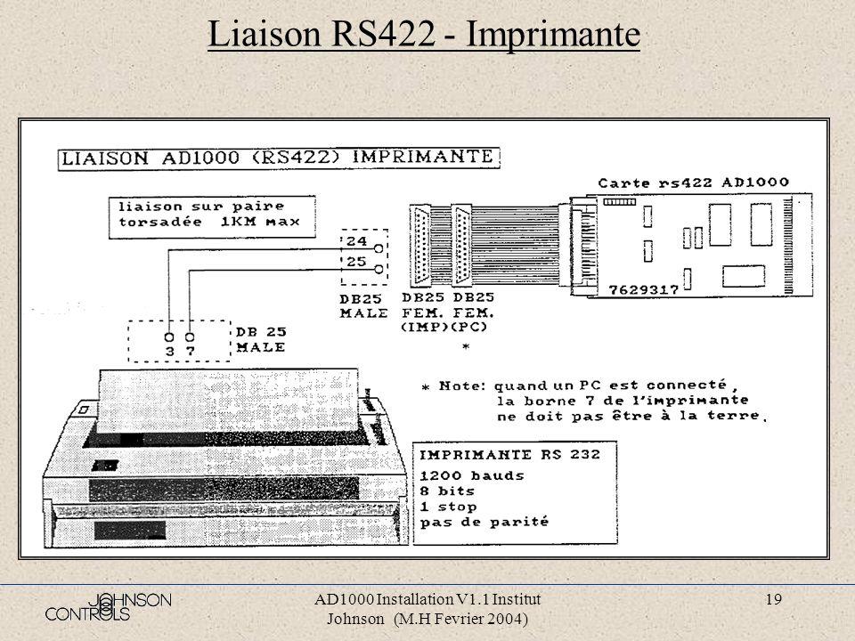 Liaison RS422 - Imprimante
