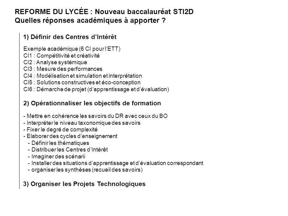 REFORME DU LYCÉE : Nouveau baccalauréat STI2D