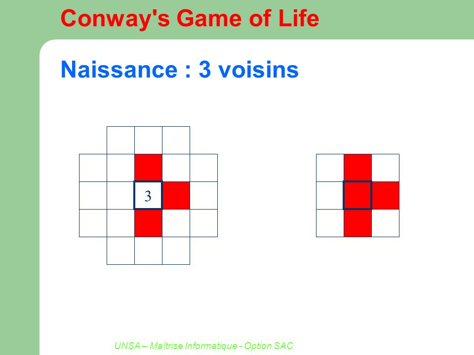 Conway s Game of Life Naissance : 3 voisins