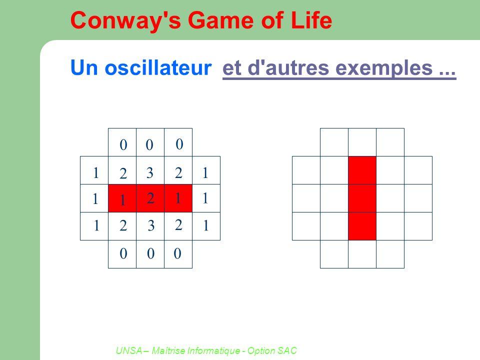 Conway s Game of Life Un oscillateur et d autres exemples ...